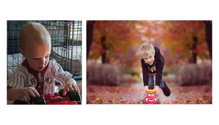 "(Left) Wyatt playing (or rather not playing) with his truck in 2004. (Right) Wyatt actually playing with it in 2014. Lynn credits the UNR program with his ability to ""play properly."""
